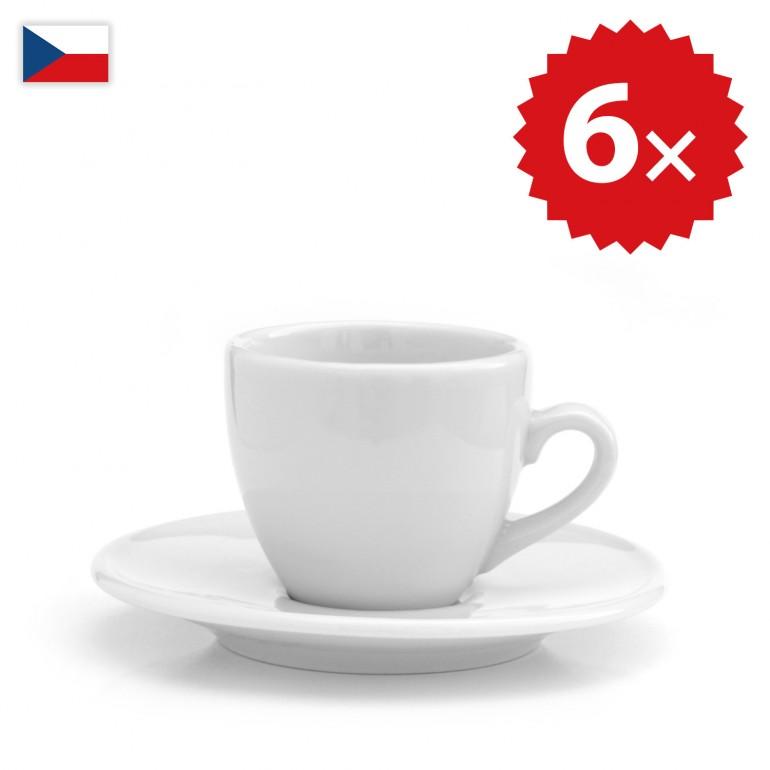 6 × Šálek na espresso oblý - český porcelán 70 ml, OFICIÁLNÍ DISTRIBUCE